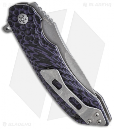 "Olamic Cutlery Wayfarer Liner Lock Knife Purple G-10 (4"" Stonewash) W559"