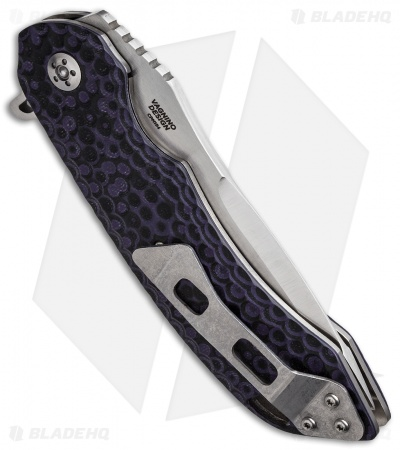 "Olamic Cutlery Wayfarer Flipper Knife Black/Purple G-10 (4"" Satin Compound) W617"