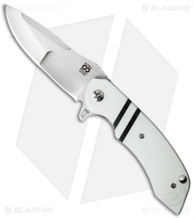 "Olamic Cutlery Wayfarer Flipper Knife White G-10 (4"" Satin Compound) W691"