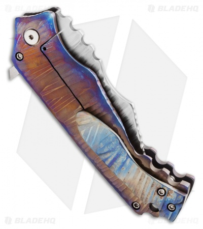 "Phantom Steelworks One-Off XL Wharncliffe Flipper Knife (3.25"" Damascus)"