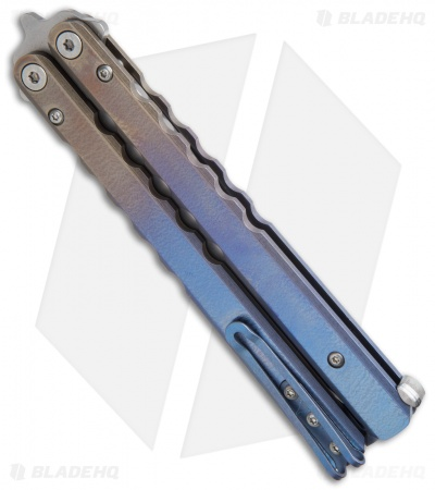 Protech FlyFather Balisong Butterfly Knife Gold-to-Blue Ti w/ Clip (Stonewash)