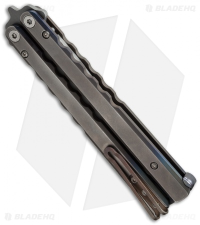 Protech FlyFather Balisong Butterfly Knife Satin Fade + Random Clip (Bead Blast)