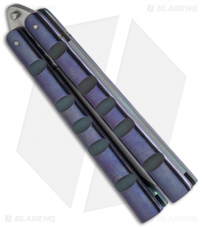 "Reese Weiland / Ron Miller Custom Balisong Ti Channel Purple Ano (3.25"" Satin)"