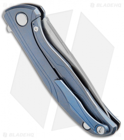 "Shirogorov 95 Flipper Frame Lock Knife Blue Ano Titanium  (3.7"" Stonewash)"