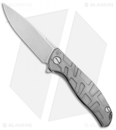 "Shirogorov 95 Flipper Frame Lock Knife T Pattern Titanium  (3.7"" Stonewash)"
