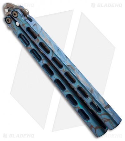 Snody Knives Custom Highroller Balisong Butterfly Knife Electric Blue Ti