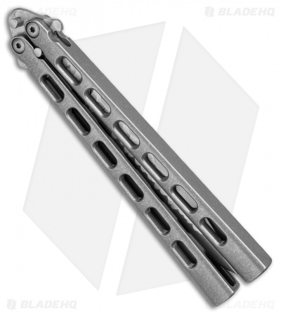 "Snody Knives Custom Highroller Balisong Butterfly Knife Titanium (5"" Satin/SW)"