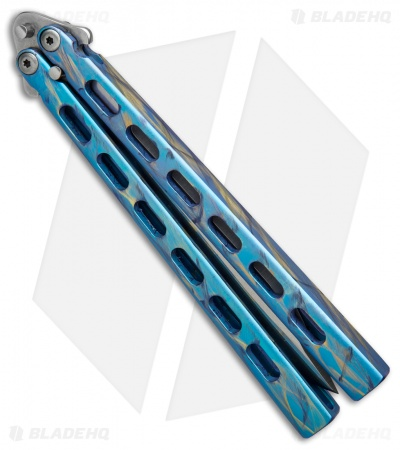 "Snody Knives Custom Highroller Balisong Butterfly Knife Electric Blue (5"" Satin)"