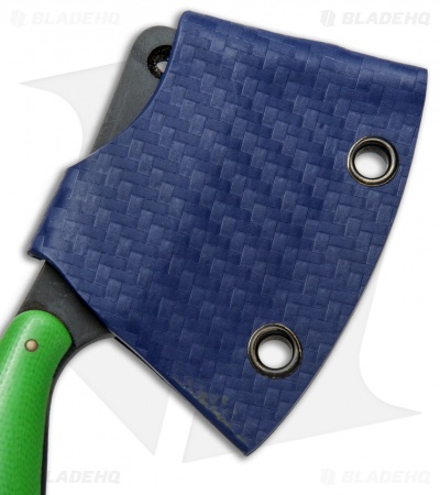 "T.M. Hunt Custom ""Leave it"" Cleaver Keychain Knife Green G-10 (1.75"" Black)"