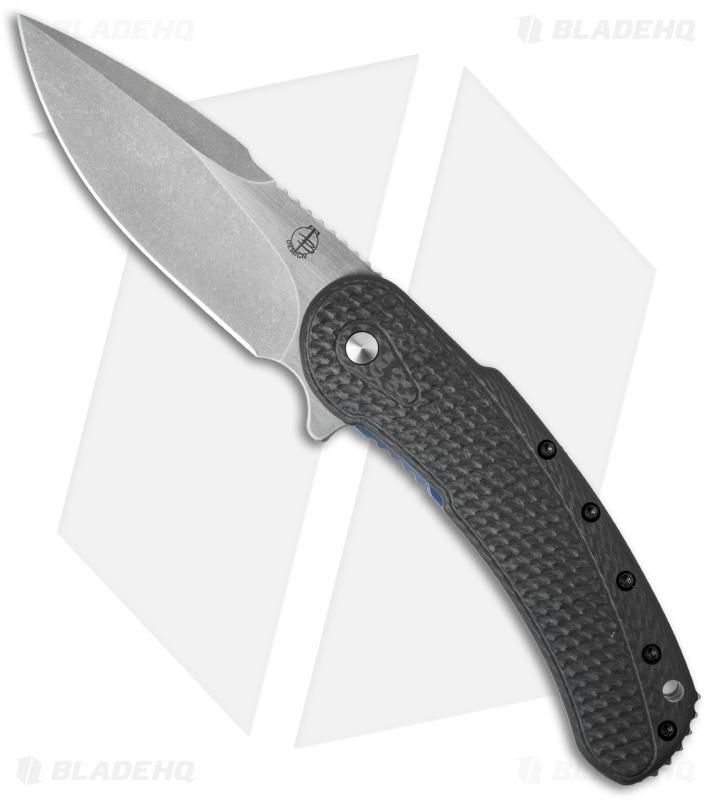 Todd Begg Custom Bodega Flipper Knife Carbon Fiber Blue Ti