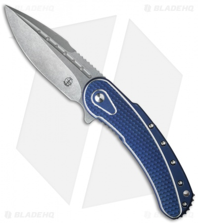 "Todd Begg Bodega 2.0 Flipper Knife Blue Titanium Scalloped (3.75"" SW Fluted)"