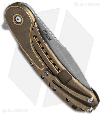 "Todd Begg Bodega 2.0 Flipper Knife Bronze Titanium Diamond (3.75"" SW Compound)"