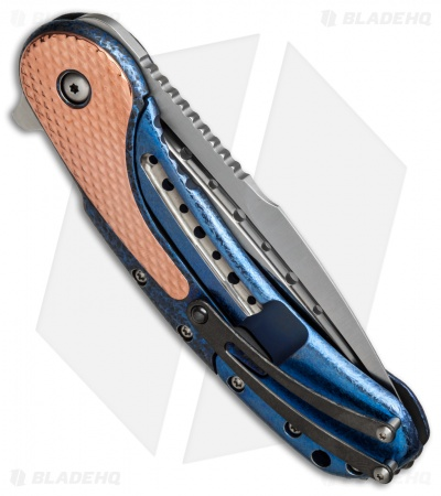 "Todd Begg Custom Bodega Flipper Knife Copper/Blue Ti (3.75"" Satin)"