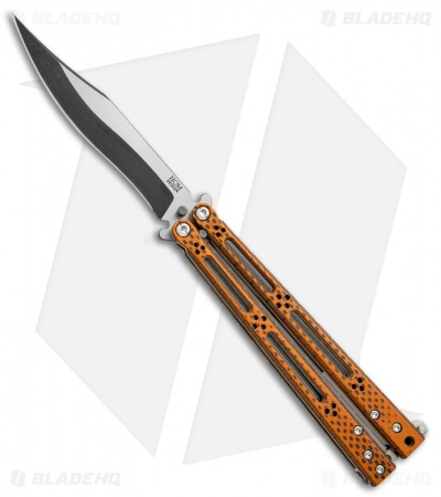 "Hom Design Basilisk-R Balisong Butterfly Knife Orange CF (4.6"" 2-Tone Acid) #4"