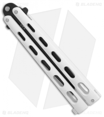"Bear & Son Large Butterfly Knife Tanto White (3.9"" Black) 115TANW"