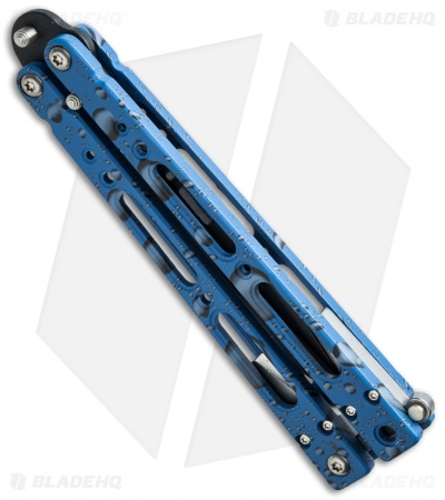 "Bear OPS Bear Song IV Butterfly Knife Blue Raindrop (4.38"" Black) B-400-AIBD"