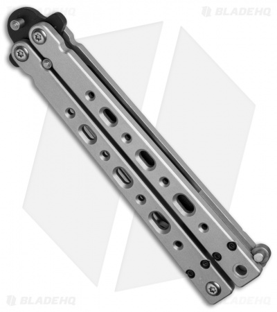 "Bear OPS Bear Song V Butterfly Knife Gray Aluminum (4.38"" Black) B-500-B"
