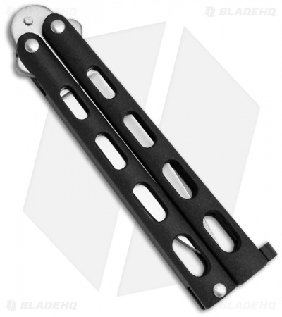 "Benchmark Small Black Butterfly Knife (3.38"" Satin Plain) BM007"