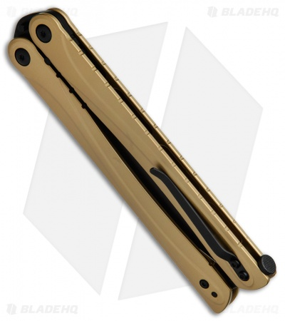 "Brous Blades Balisong B3 Butterfly Knife Burnt Bronze Cerakote SS (4.25"" Black)"