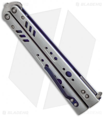 "BRS Premium Replicant Balisong Butterfly Knife Gray G-10/Purple Ti (4.5"" SW)"