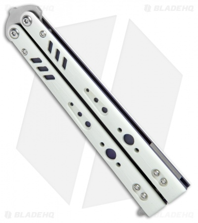 "BRS Premium Replicant Balisong Butterfly Knife White G-10/Purple Ti (4.5"" SW)"