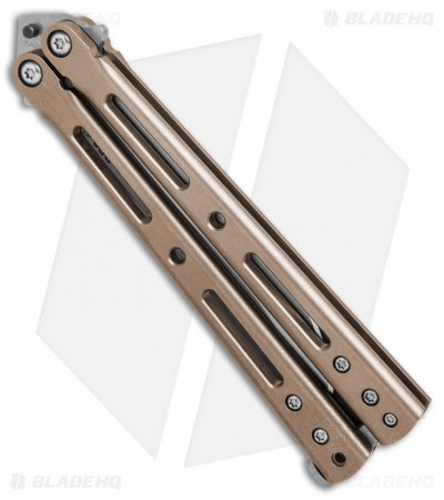 "DogBite Knives DB3.1 Balisong Butterfly Knife Bronze/Gold (4"" Stonewash ELMAX)"