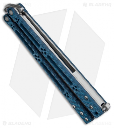 "Hom Design Basilisk-R Balisong Butterfly Knife Blue Twill (4.6"" Satin)"