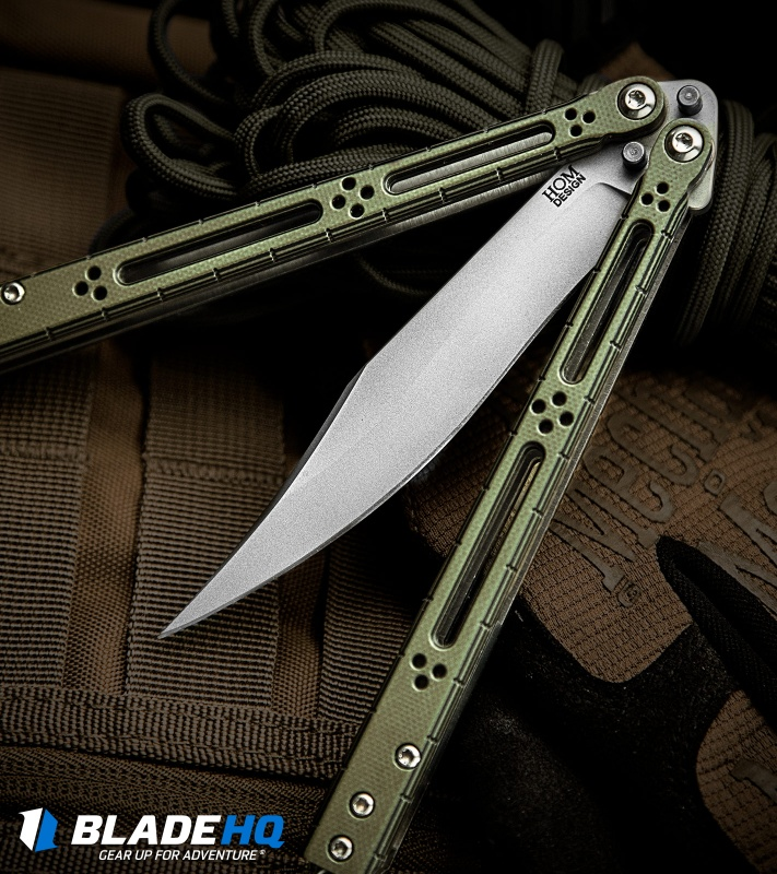 Hom Design Basilisk R Balisong Knife Standard Issue Green