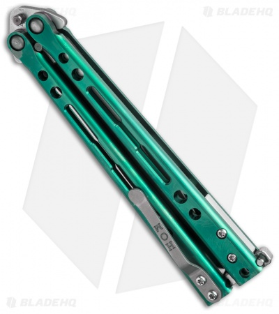 "Hom Design Specter Evo Titanium Balisong Butterfly Knife Green (4.4"" Two-Tone)"