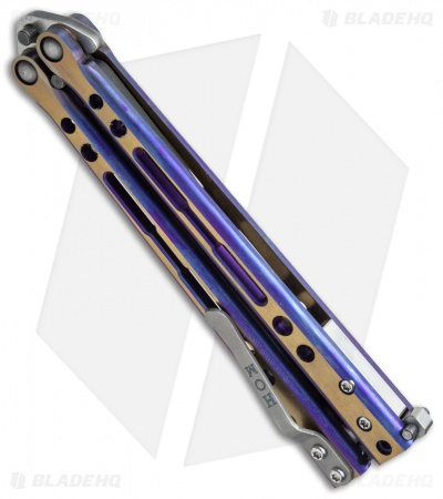 "Hom Design Specter Evo Titanium Balisong Knife Purple Gold (4.4"" Two-Tone)"