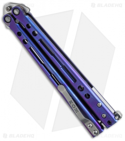 "Hom Design Specter Evo Titanium Balisong Butterfly Knife Purple (4.4"" Two-Tone)"