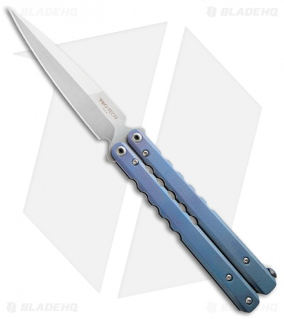 Protech FlyFather Balisong Butterfly Knife Blue Fade w/ Clip (Stonewash)