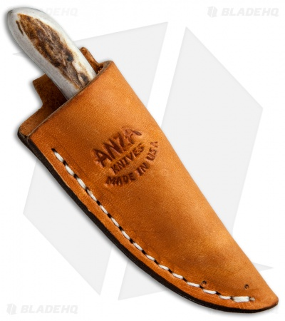 "Anza Knives M-FE Fixed Blade Knife Stag Horn (2"" Satin)"