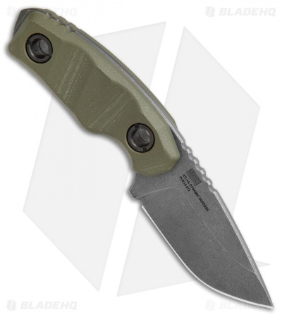 "Atlas Dynamic Defense PUK Fixed Blade Knife OD Green G-10 (2.75"" Stonewash)"