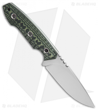 "Black Dragon Forge D13 Fixed Blade Knife Green/Black G-10 (3.8"" Satin)"