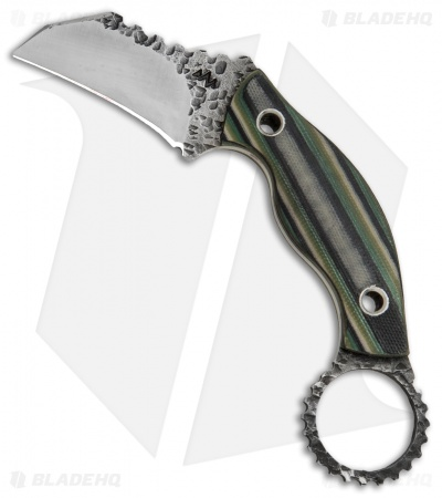 "Black Dragon Forge Karambit Fixed Blade Knife Green Camo G-10 (2.625"" Two-Tone)"