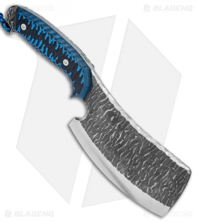 "Cobble Blade Cleaver Fixed Blade Knife Sculpted Blue G-10 (6"" Acid Stonewash)"