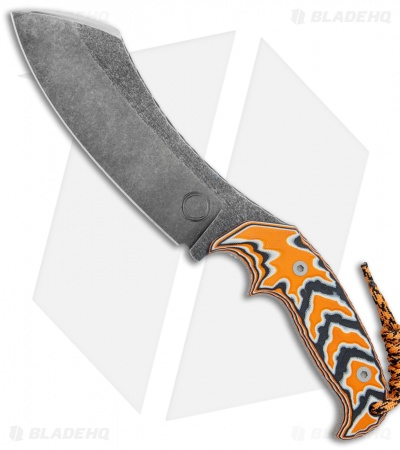 "Cobble Blade Harpoon Fixed Blade Knife Sculpted Orange G-10 (10"" Acid SW)"