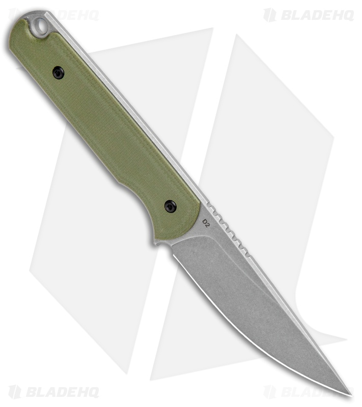 "Ferrum Forge Pro Series Lackey Fixed Knife Blade Green G-10 (2.8"" Stonewash)"