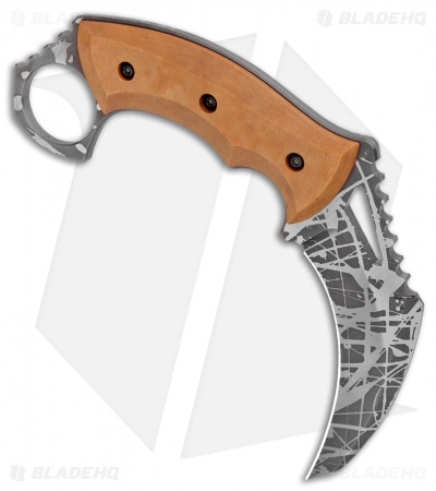 "HavocWorks Custom KAOS Karambit Brown Richlite  (3.25"" Acid Etched)"