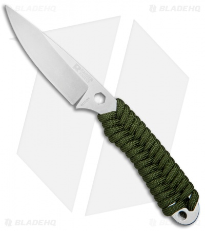 "Rainier Knives Fastpak Fixed Blade Knife OD Green Paracord (2.8"" Stonewash)"