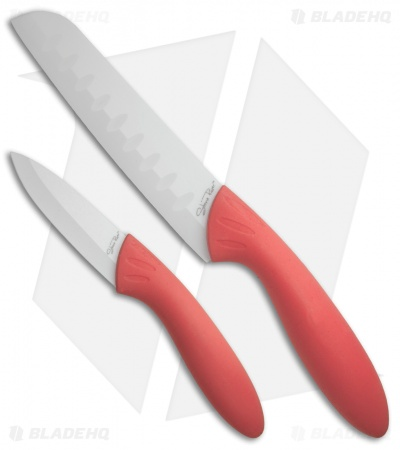 Stone River Gear Two Piece White/Pink Ceramic Knife Set - SRG23CKP