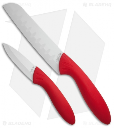 Stone River Gear Two Piece White/Red Ceramic Knife Set - SRG23CKR