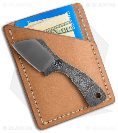 "Suwannee River Newt Fixed Blade Knife w/ Leather Wallet Sheath (1.3"" Two-Tone)"