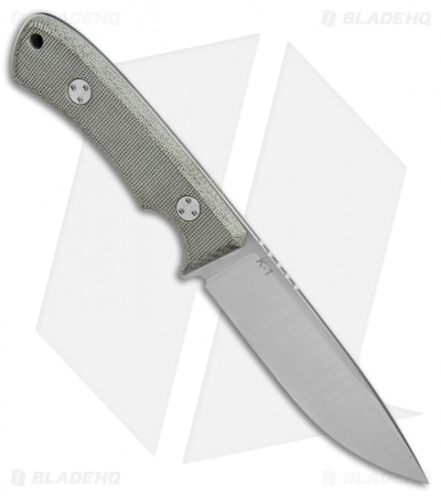 "TRC Knives K-1 Fixed Blade Knife Green Micarta (4.5"" Satin Elmax)"