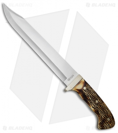"Uncle Henry Large Bowie Fixed Blade Knife Delrin Stag (9.8"" Satin)"