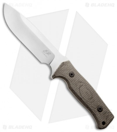 "Knife Research Enki Fixed Blade Knife w/ Green Canvas Micarta (5.5"" Satin Plain)"