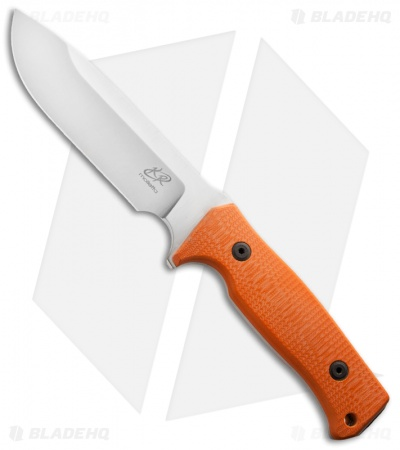 "Knife Research Enki Fixed Blade Knife w/ Orange G10 (5.5"" Satin Plain)"