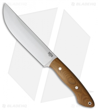 "Bark River Kalahari Camp II Fixed Blade Knife Natural Canvas Micarta (12"" Satin)"