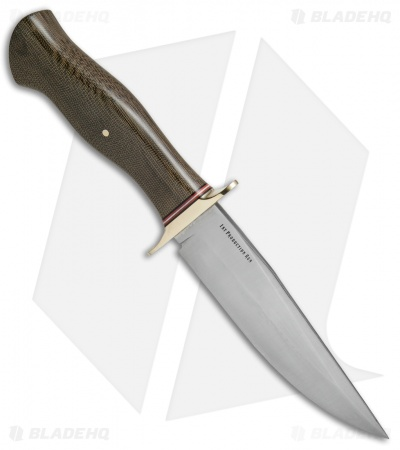 "Bark River Vest Pocket Bowie A Fixed Blade Knife Green Micarta (5.375"" Satin)"